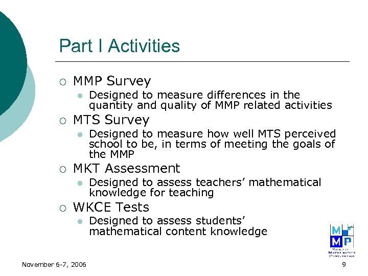 Part I Activities ¡ MMP Survey l ¡ MTS Survey l ¡ Designed to