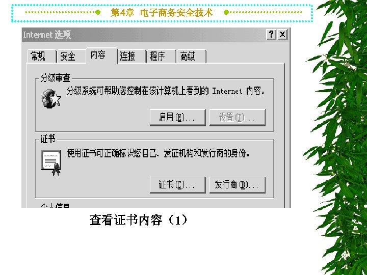 第 4章 电子商务安全技术 查看证书内容(1)