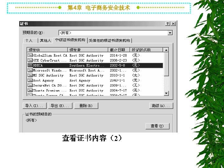 第 4章 电子商务安全技术 查看证书内容(2)