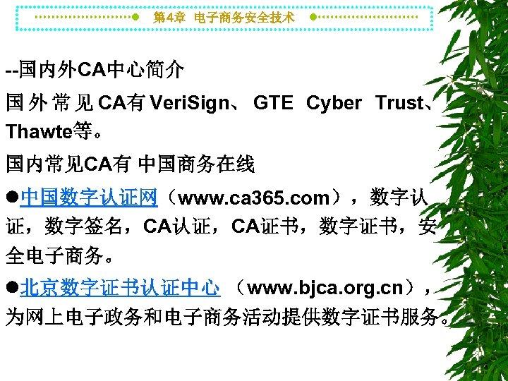 第 4章 电子商务安全技术 --国内外CA中心简介 国 外 常 见 CA有 Veri. Sign、 GTE Cyber Trust、