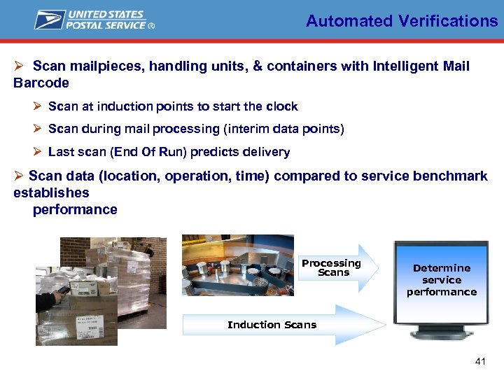 Automated Verifications Ø Scan mailpieces, handling units, & containers with Intelligent Mail Barcode Ø