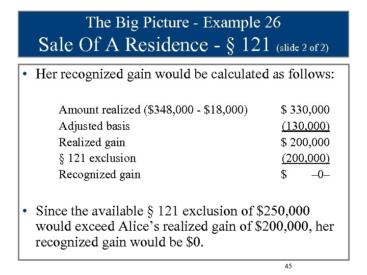 The Big Picture - Example 26 Sale Of A Residence - § 121 (slide