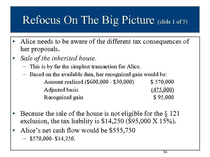 Refocus On The Big Picture (slide 1 of 5) • Alice needs to be