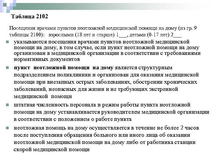 Таблица 2102 Посещения врачами пунктов неотложной медицинской помощи на дому (из гр. 9 таблицы
