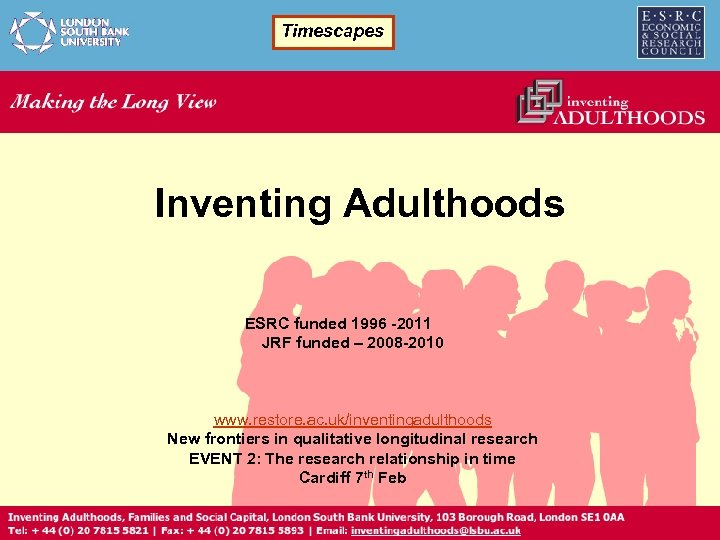Timescapes Inventing Adulthoods ESRC funded 1996 -2011 JRF funded – 2008 -2010 www. restore.