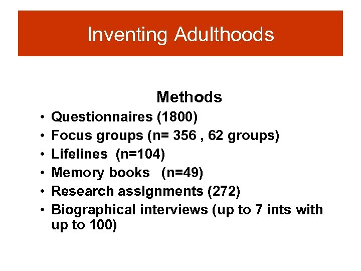 Inventing Adulthoods Methods • • • Questionnaires (1800) Focus groups (n= 356 , 62