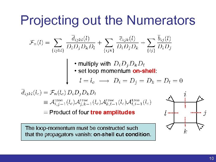 Projecting out the Numerators • multiply with • set loop momentum on-shell: Product of