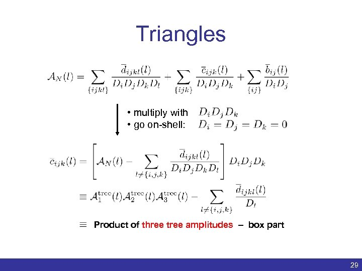 Triangles • multiply with • go on-shell: Product of three tree amplitudes – box