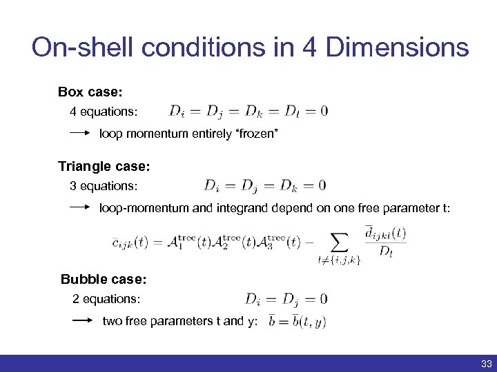 "On-shell conditions in 4 Dimensions Box case: 4 equations: loop momentum entirely ""frozen"" Triangle"