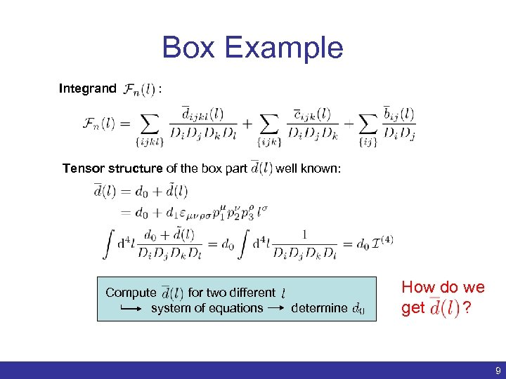 Box Example Integrand : Tensor structure of the box part Compute for two different