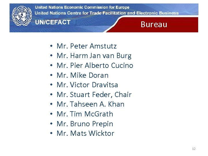 UN Economic Commission for Europe • • • Bureau Mr. Peter Amstutz Mr. Harm