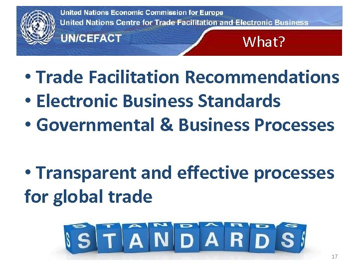 UN Economic Commission for Europe What? • Trade Facilitation Recommendations • Electronic Business Standards