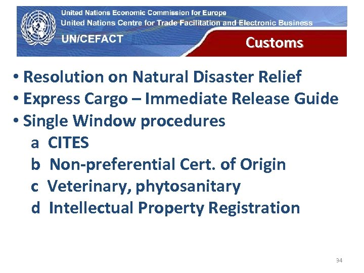UN Economic Commission for Europe Customs • Resolution on Natural Disaster Relief • Express