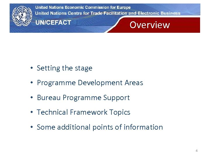 UN Economic Commission for Europe Overview themes • Setting the stage • Programme Development