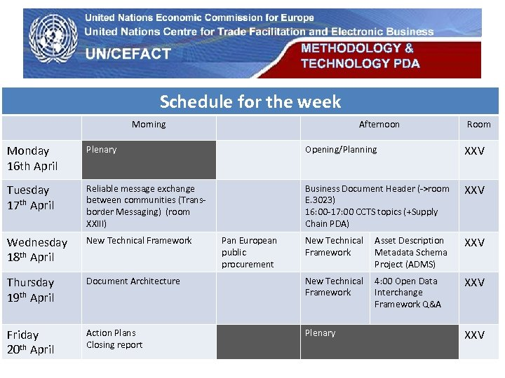 METHODOLOGY & TECHNOLOGY PDA UN Economic Commission for Europe Schedule for the week Morning