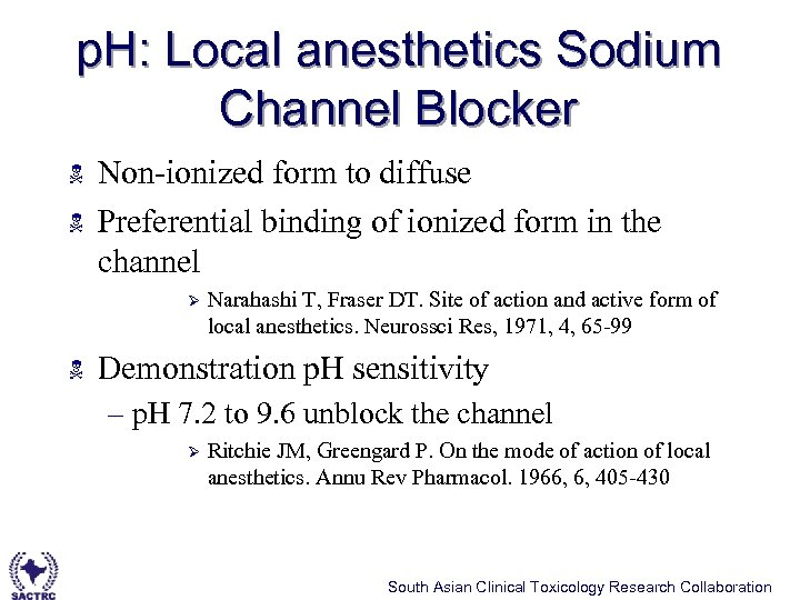 p. H: Local anesthetics Sodium Channel Blocker N N Non-ionized form to diffuse Preferential