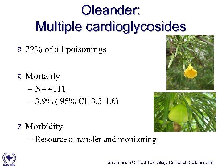 Oleander: Multiple cardioglycosides N 22% of all poisonings N Mortality – N= 4111 –