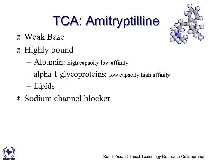 TCA: Amitryptilline N N Weak Base Highly bound – Albumin: high capacity low affinity
