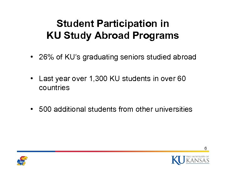 Student Participation in KU Study Abroad Programs • 26% of KU's graduating seniors studied
