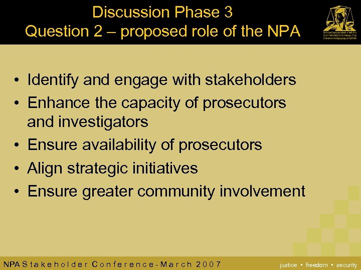 Discussion Phase 3 Question 2 – proposed role of the NPA • Identify and