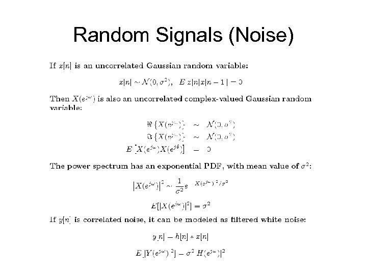 Random Signals (Noise)