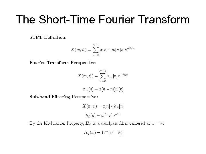 The Short-Time Fourier Transform