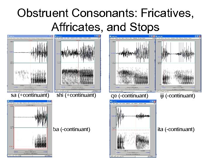Obstruent Consonants: Fricatives, Affricates, and Stops sa (+continuant) shi (+continuant) ba (-continuant) qe (-continuant)