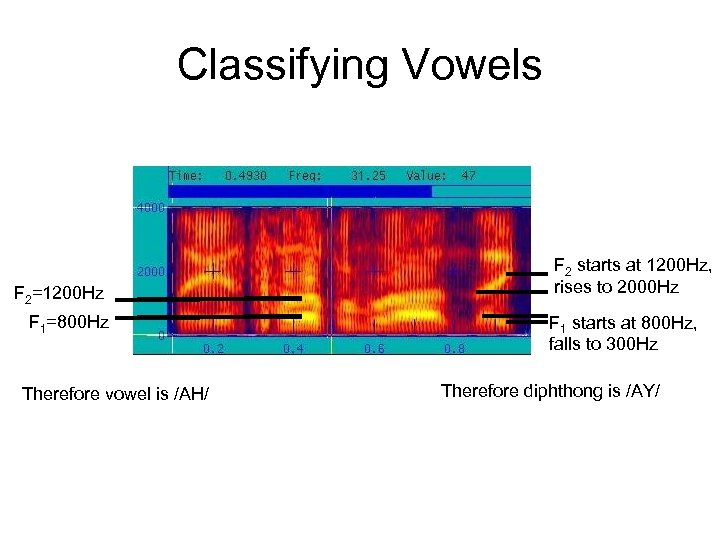 Classifying Vowels F 2=1200 Hz F 1=800 Hz Therefore vowel is /AH/ F 2
