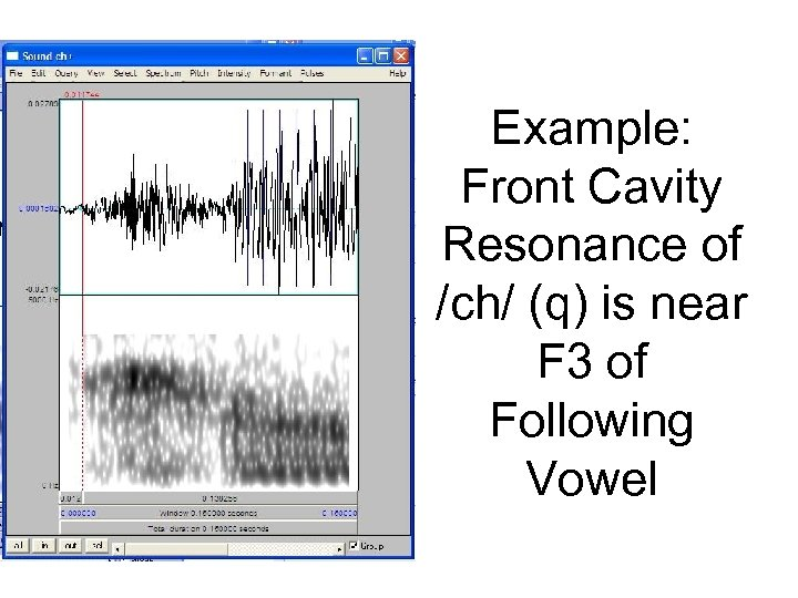 Example: Front Cavity Resonance of /ch/ (q) is near F 3 of Following Vowel