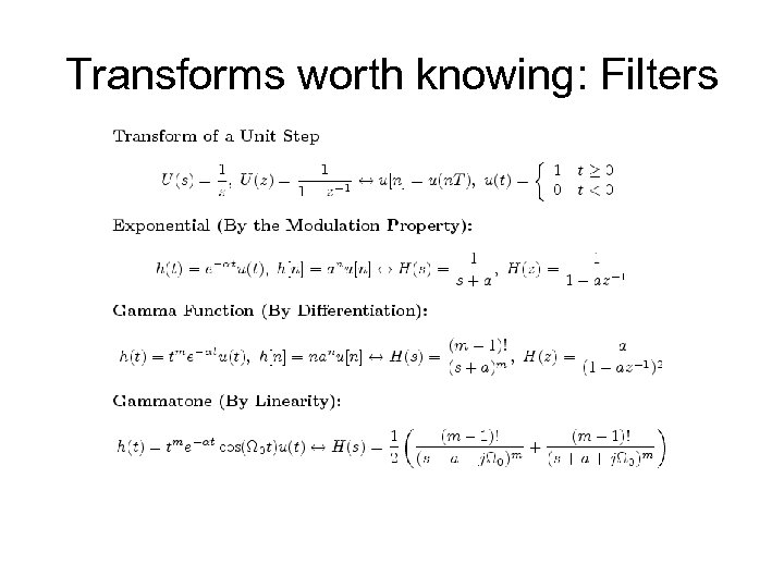 Transforms worth knowing: Filters