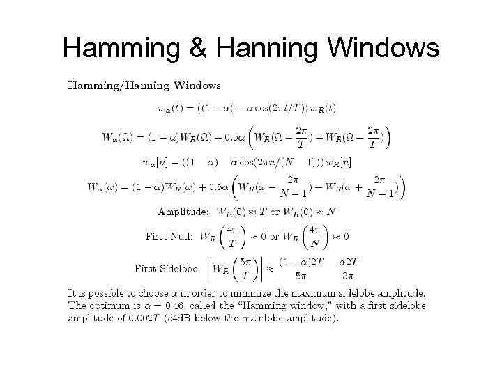 Hamming & Hanning Windows