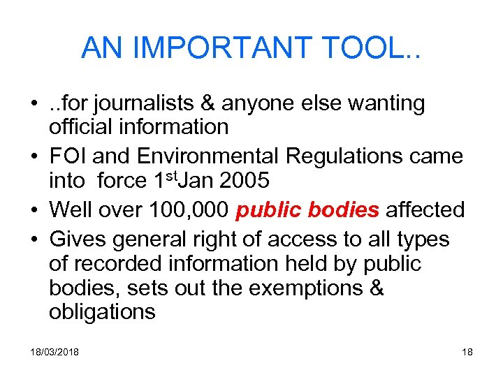 AN IMPORTANT TOOL. . • . . for journalists & anyone else wanting official