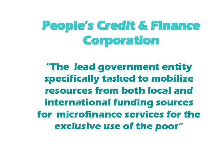"""People's Credit & Finance Corporation """"The lead government entity specifically tasked to mobilize resources"""