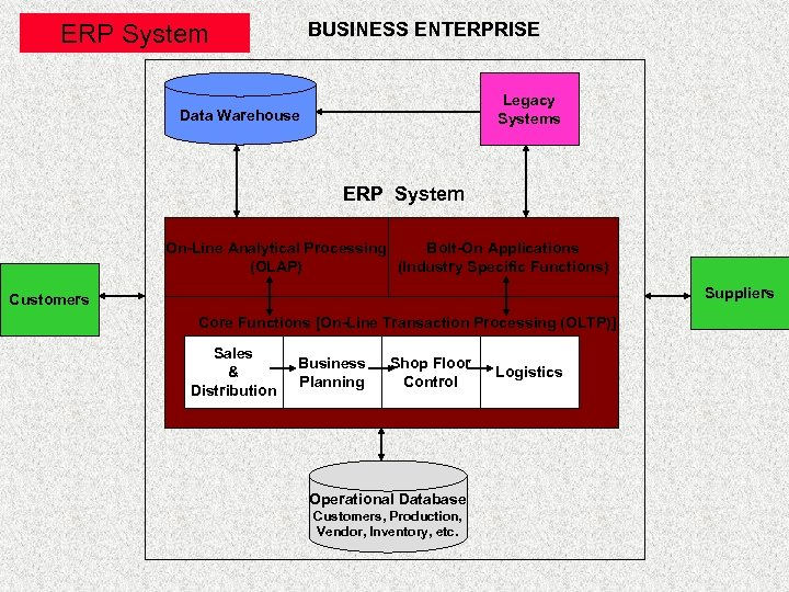 BUSINESS ENTERPRISE ERP System Legacy Systems Data Warehouse ERP System On-Line Analytical Processing Bolt-On