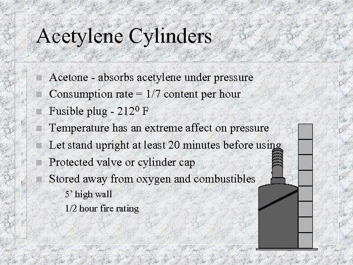 Acetylene Cylinders n n n n Acetone - absorbs acetylene under pressure Consumption rate