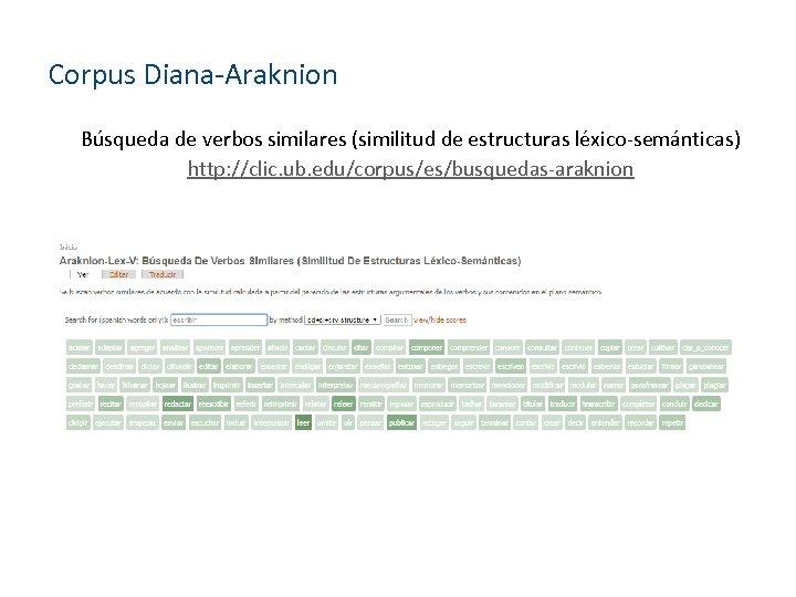 Corpus Diana-Araknion Búsqueda de verbos similares (similitud de estructuras léxico-semánticas) http: //clic. ub. edu/corpus/es/busquedas-araknion