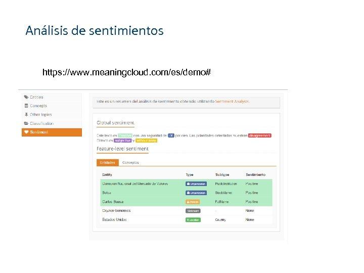 Análisis de sentimientos https: //www. meaningcloud. com/es/demo#