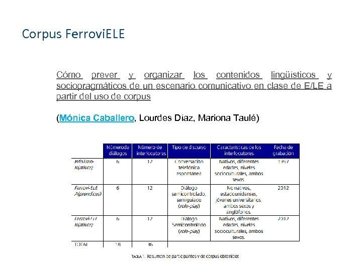 Corpus Ferrovi. ELE Cómo prever y organizar los contenidos lingüísticos y sociopragmáticos de un