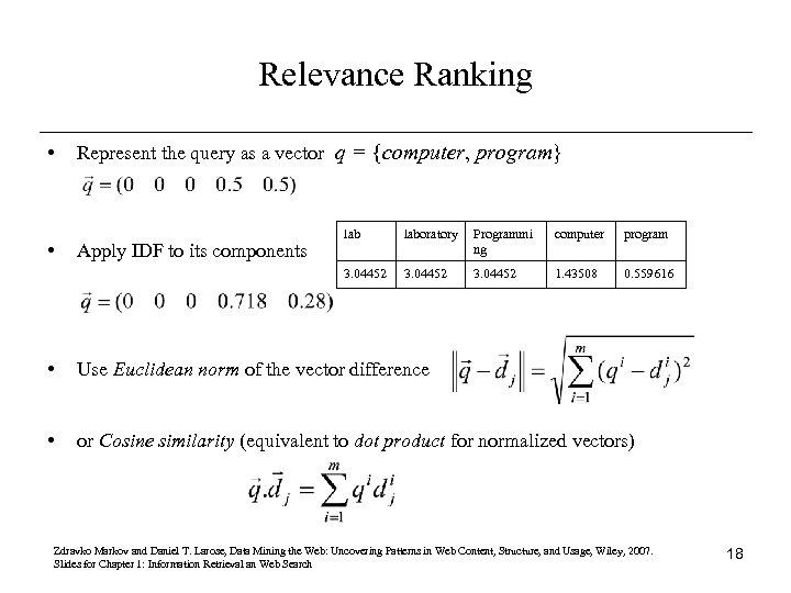 Relevance Ranking • Represent the query as a vector q = {computer, program} Apply