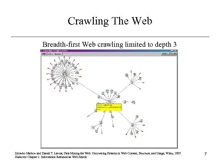 Crawling The Web Breadth-first Web crawling limited to depth 3 Zdravko Markov and Daniel