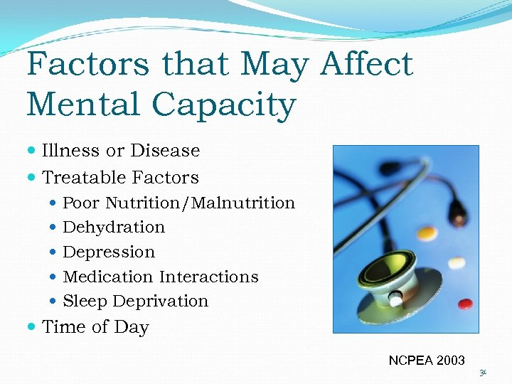 Factors that May Affect Mental Capacity Illness or Disease Treatable Factors Poor Nutrition/Malnutrition Dehydration