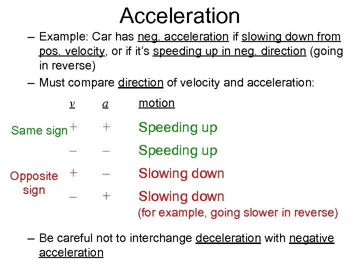 Acceleration – Example: Car has neg. acceleration if slowing down from pos. velocity, or