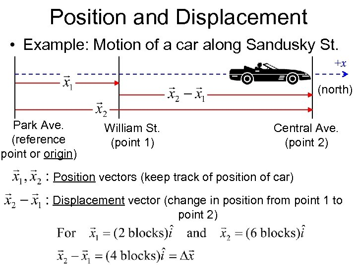 Position and Displacement • Example: Motion of a car along Sandusky St. +x (north)