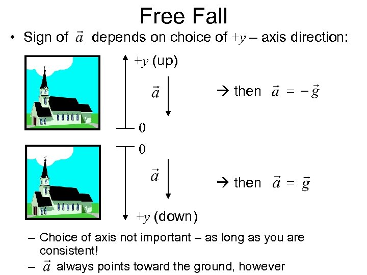 Free Fall • Sign of depends on choice of +y – axis direction: +y
