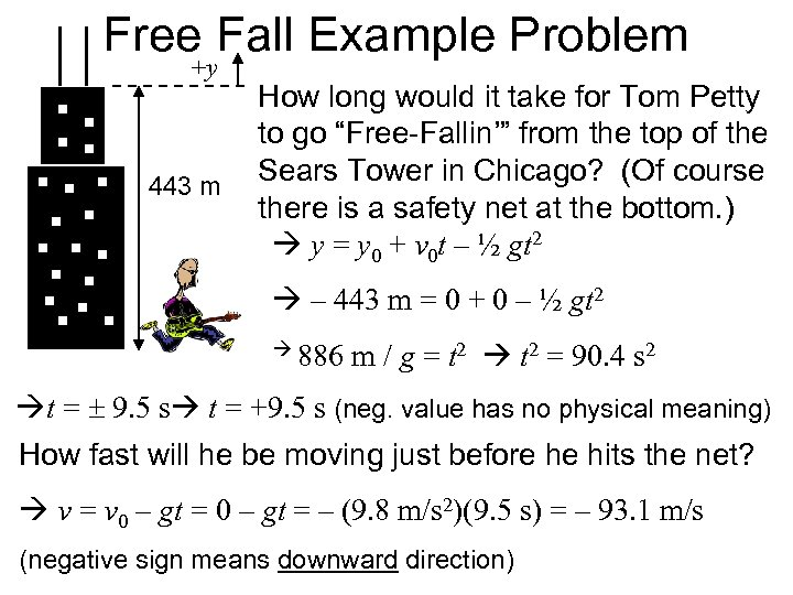 Free Fall Example Problem +y 443 m How long would it take for Tom