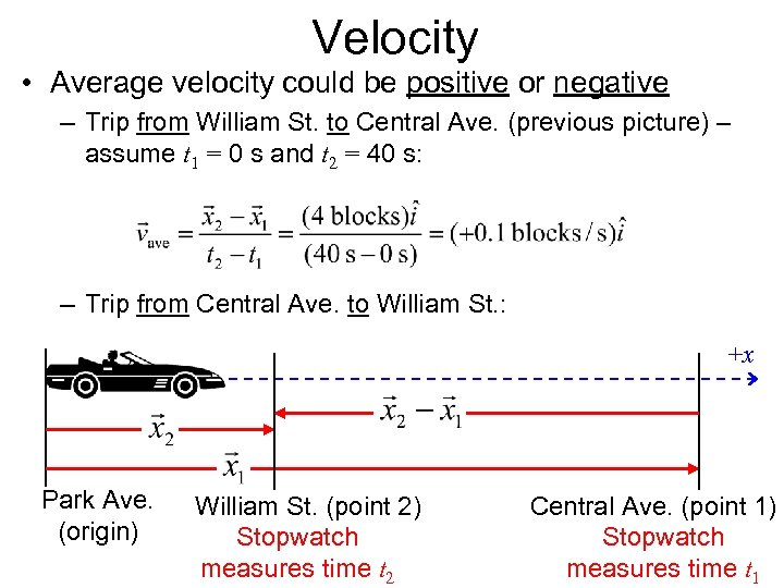 Velocity • Average velocity could be positive or negative – Trip from William St.
