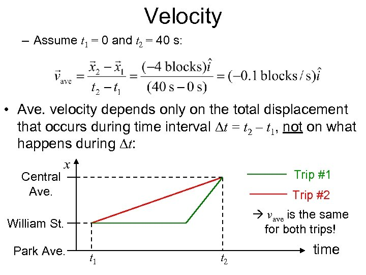 Velocity – Assume t 1 = 0 and t 2 = 40 s: •