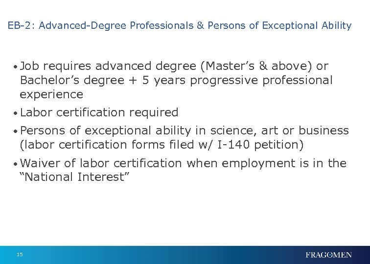 EB-2: Advanced-Degree Professionals & Persons of Exceptional Ability • Job requires advanced degree (Master's