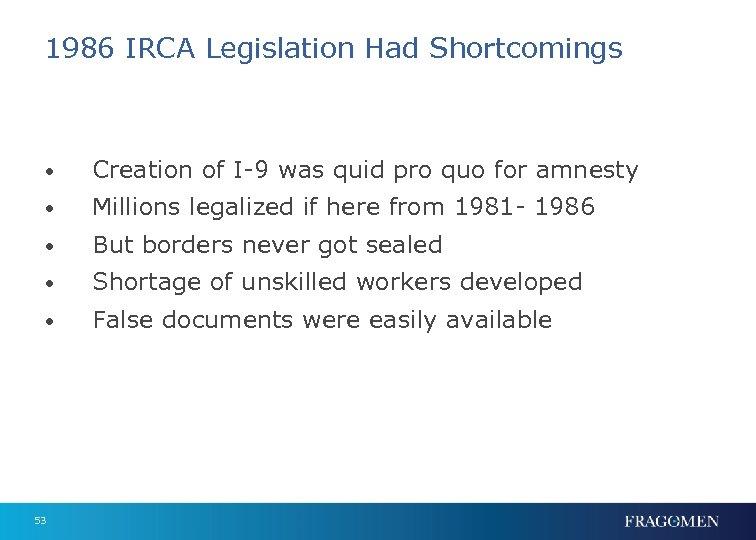 1986 IRCA Legislation Had Shortcomings • Creation of I-9 was quid pro quo for