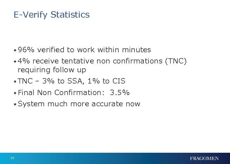 E-Verify Statistics • 96% verified to work within minutes • 4% receive tentative non